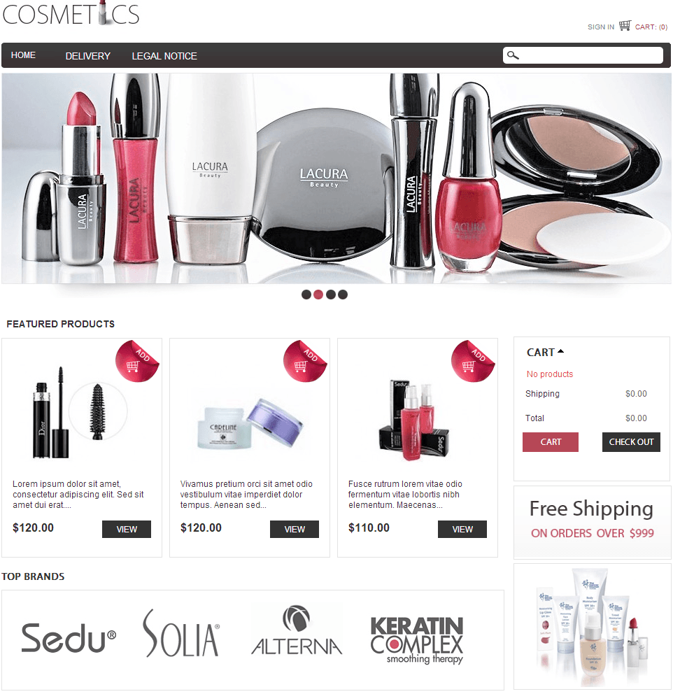 Prestashop Cosmetic Template