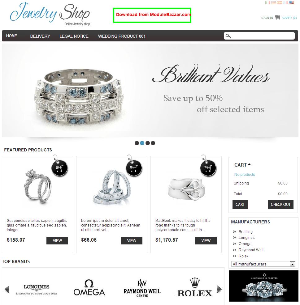 PrestaShop Jewelry theme