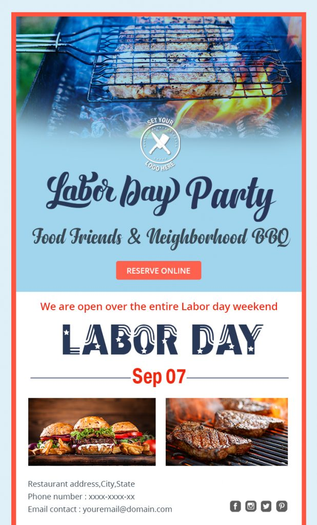Labor day BBQ party email template