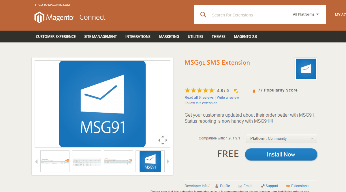 MSG91 SMS Extension