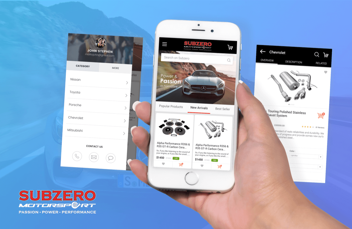 Subzero MotorSports mcommerce application